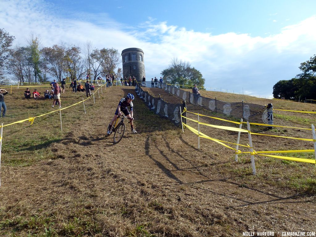 Heading up to the tower, and then back down. © Cyclocross Magazine