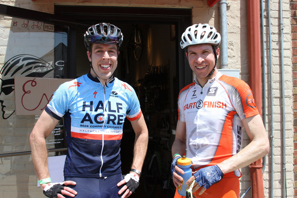 Mike Hemme (Half Acre Cycling) and Paul Swinand (Chicago Masters/club bicicletta) post-ride. © Amy Dykema