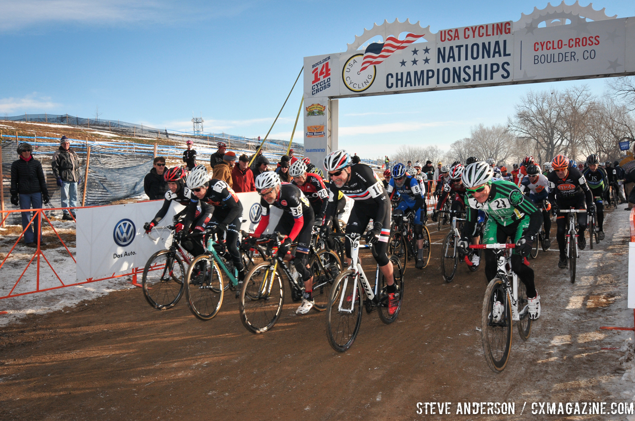Intense start in the Men\'s 60-64, 65-69, 70+ Nationals races in Boulder, Colorado. © Steve Anderson