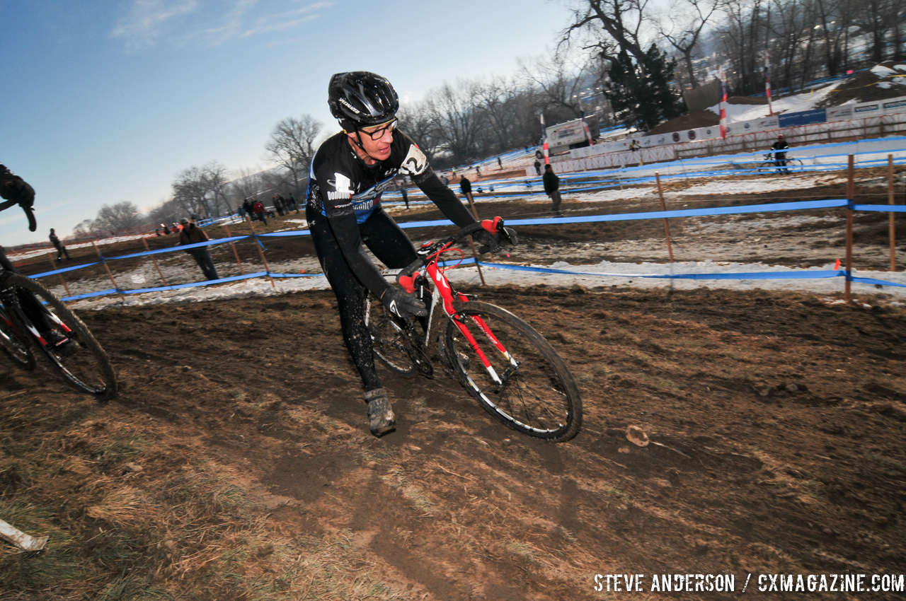 Gregg working around the course in the Men\'s 60-64, 65-69, 70+ Nationals races in Boulder, Colorado. © Steve Anderson