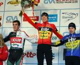 The men's podium. GP Sven Nys 2010, Baal, GVA Trofee cyclocross series. ? Bart Hazen
