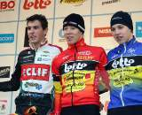 The junior men's podium. GP Sven Nys 2010, Baal, GVA Trofee cyclocross series. ? Bart Hazen