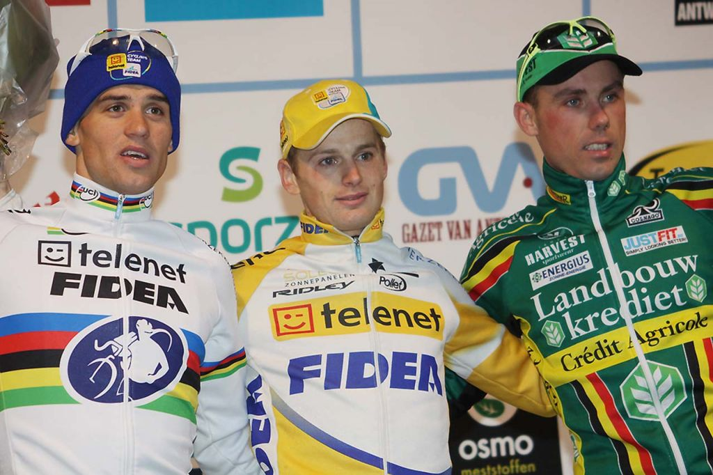 Stybar, Pauwels, Nys (l to r) on the Elite men\'s podium ©Bart Hazen