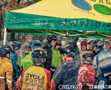 Huddling under the tent to get out of the rain at the Harbin Park Cyclocross Clinic © VeloVivid