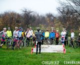 Powrs addresses the crowd at the Harbin Park Cyclocross Clinic © VeloVivid