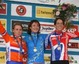 The women's podium, 2009 European Cyclocross Championships. ? Bart Hazen