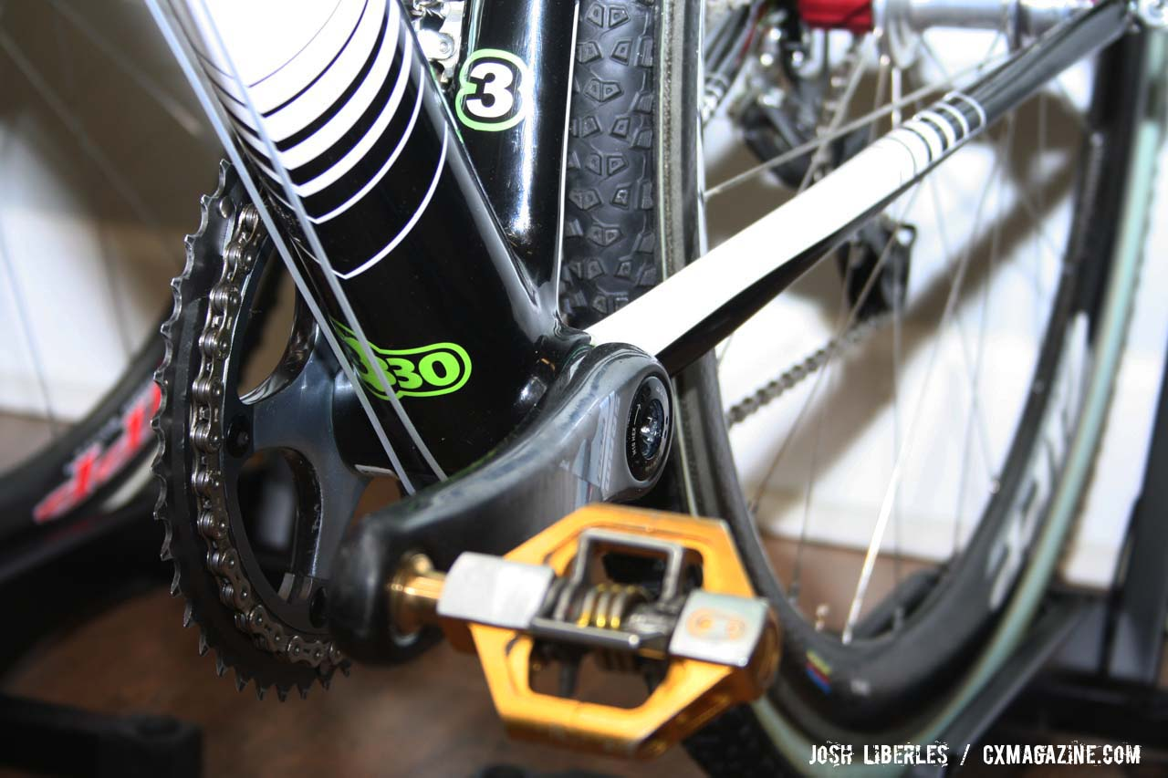 Powers\' BB30 SRAM Red crankset with Crank Brothers Candy pedals ©Josh Liberles