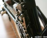 A carbon band wraps around the seat tube to secure the braze-on Campagnolo front derailleur ©Josh Liberles