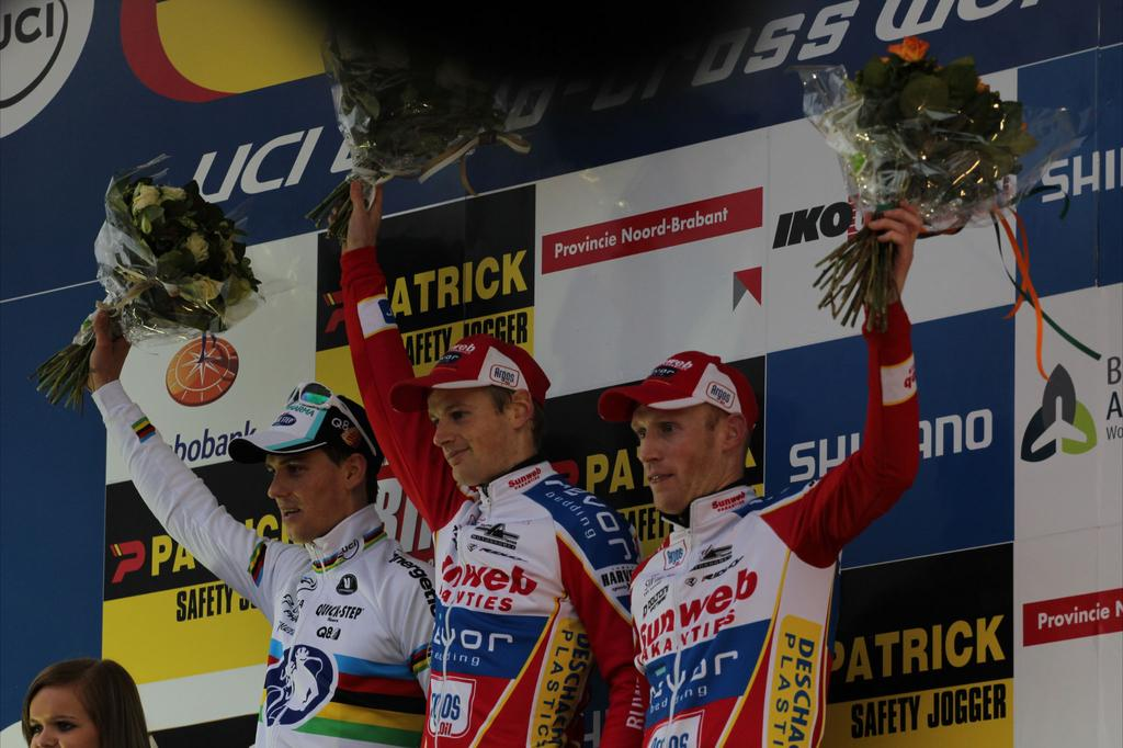 The podium of 	Kevin Pauwels, Zdenek Stybar and Klaas Vantornout. © Thomas van Bracht