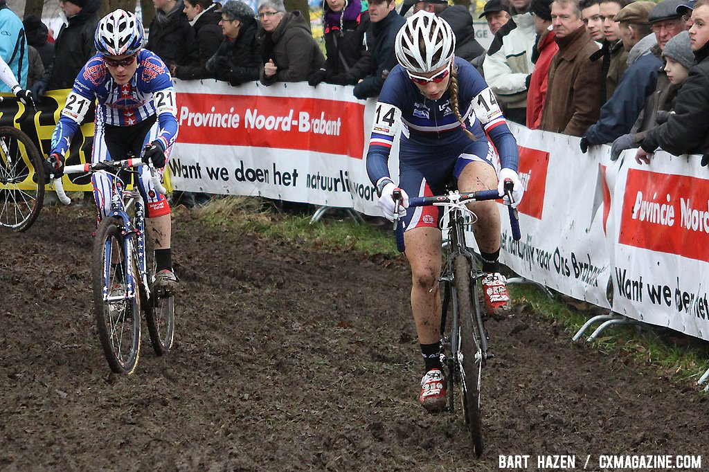 Pauline Ferrand-Prevot and Katie Compton seek a way through the mud