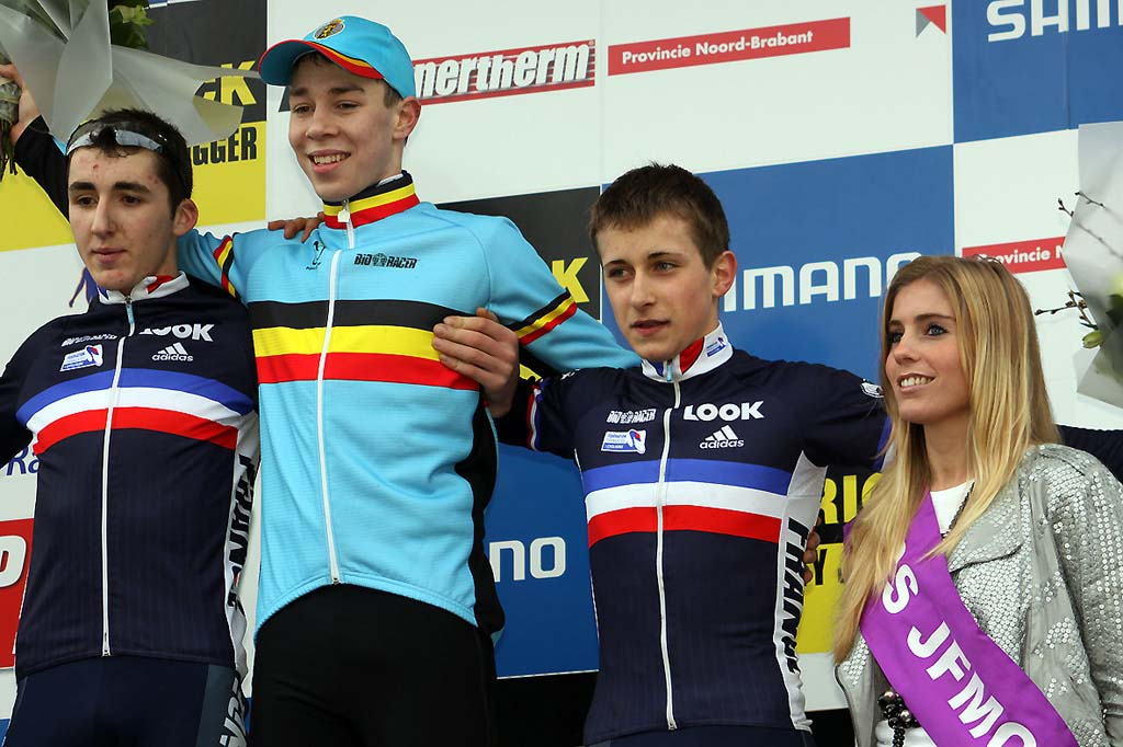 Juniors on the podium (l-r) - Fabien Doubey, Laurens Sweeck and Kevin Bouvard. © Bart Hazen