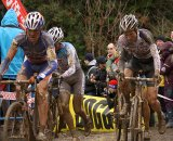 Belgium's Bart Aernouts and Niels Albert are already muddy on the first lap © Cyclocross Magazine