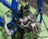Hayes CX5 mechanical disc brakes on IF's Titanium Factory Lightweight Cyclocross Bike. ©Cyclocross Magazine