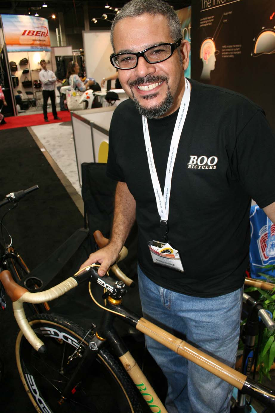 Boo\'s craftsman proudly displays the Boo cyclocross bike.?Cycloc