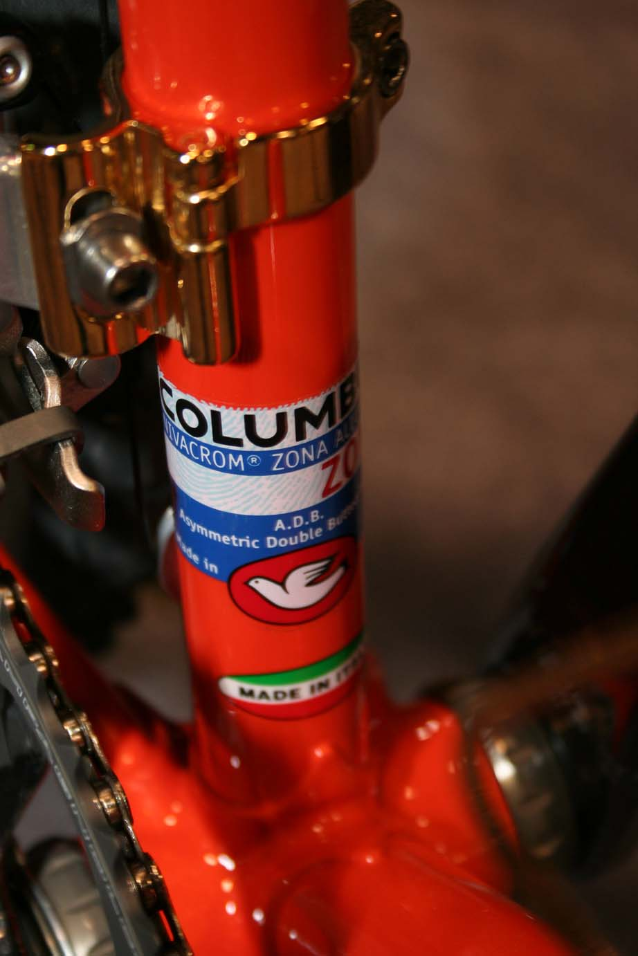 Bling Bling: Gold fittings adorned this bright orange Torelli cyclocross frame.  ?Cyclocross Magazine