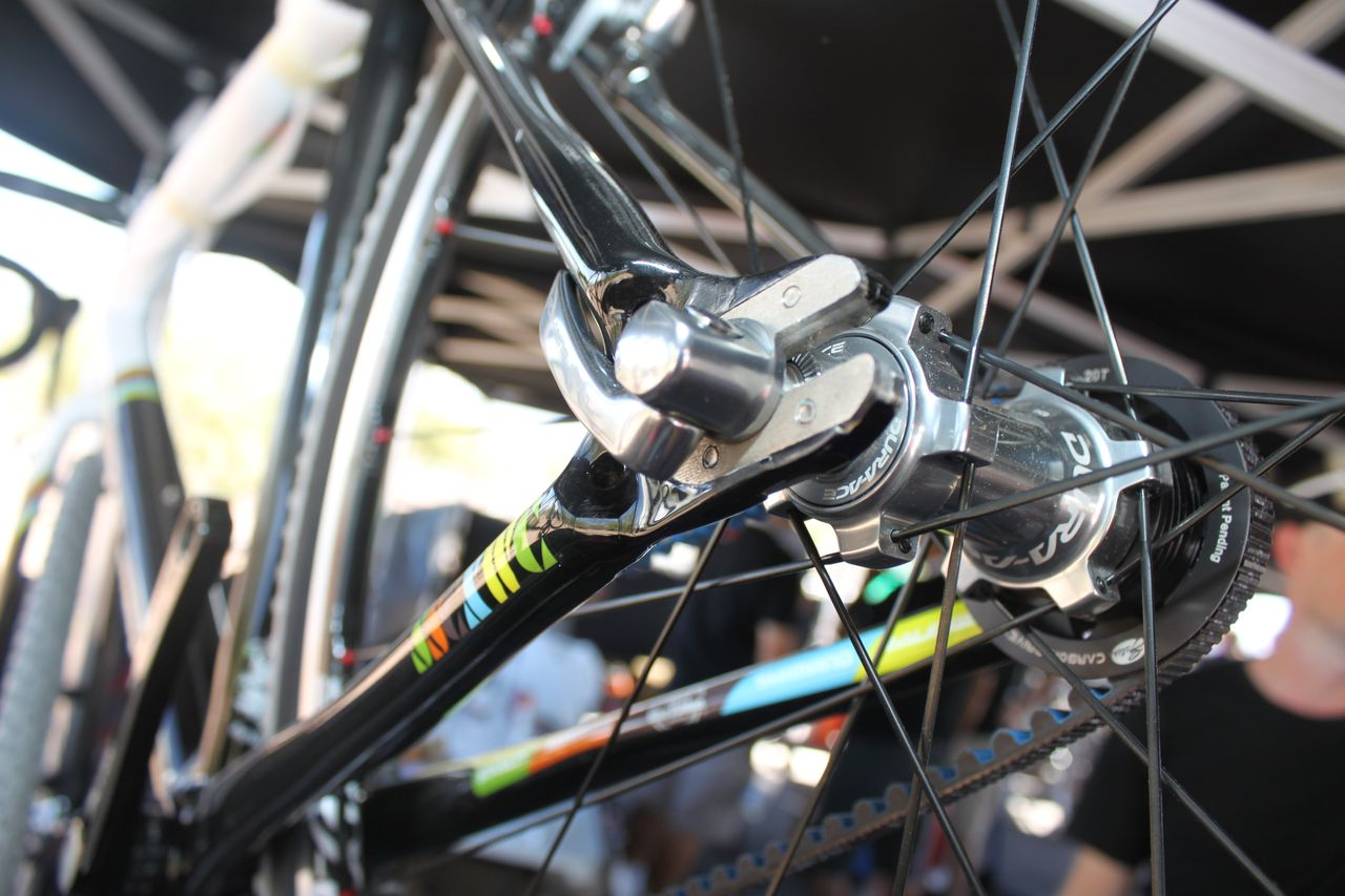 Rear-facing track forks allow enough adjustment to accomodate a few different rear cogs. Cyclocross @ Interbike 2010. © Cyclocross Magazine