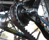 The Gates carbon drive on Shimano carbon road tubeless wheels. Cyclocross @ Interbike 2010. © Cyclocross MagazineCyclocross @ Interbike 2010. © Cyclocross Magazine