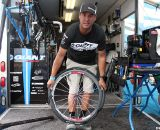 Kelli Emmett moved from the Giant alloy TCX0 to the carbon TCX Advanced - being built with Schwalbe Racing Ralph tires on the training wheels the day before CrossVegas 2011. © Cyclocross Magazine