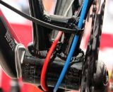 Todd Wells' 2012 Specialized Crux Expert utilizes simple zip ties to secure the continuous cable housing. © Cyclocross Magazine