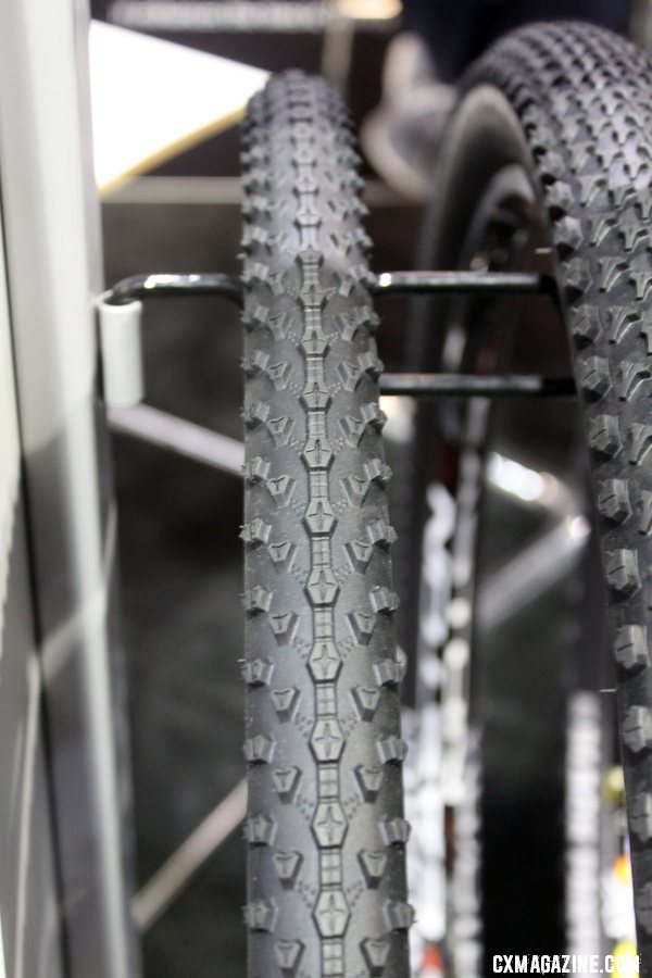 Vredestein\'s new Black Panther cyclocross tires. Cyclocross Tires at Interbike 2011. © Cyclocross Magazine