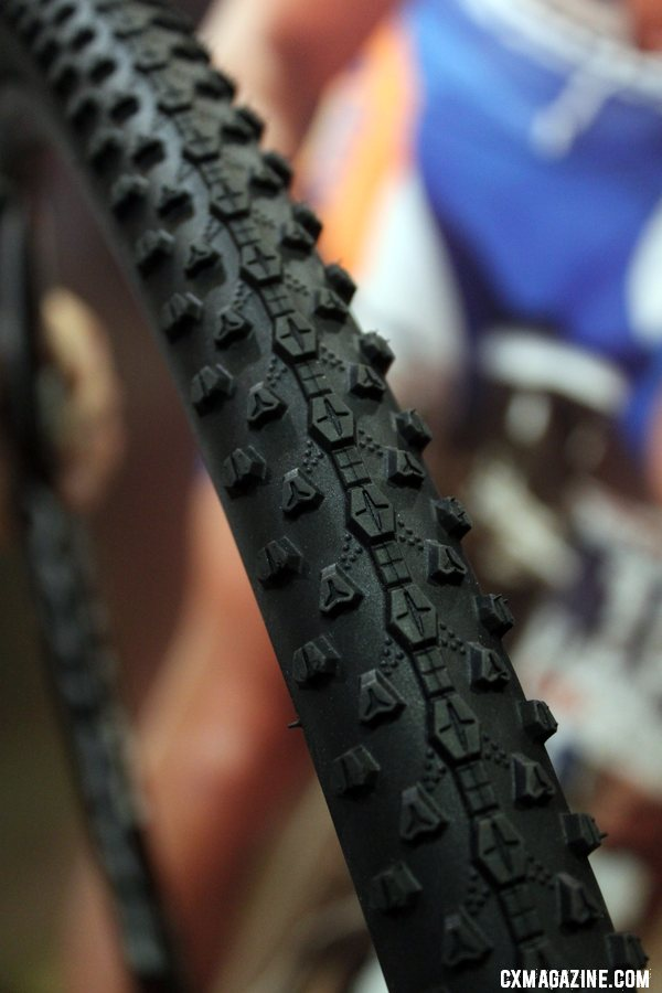 Vredestein is eyeing the cyclocross market, and showed off their upcoming Black Panther tread. Cyclocross Tires at Interbike 2011. © Cyclocross Magazine