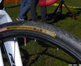 Kenda Kommando clinchers run tubeless on NoTubes' carbon Valor rims.