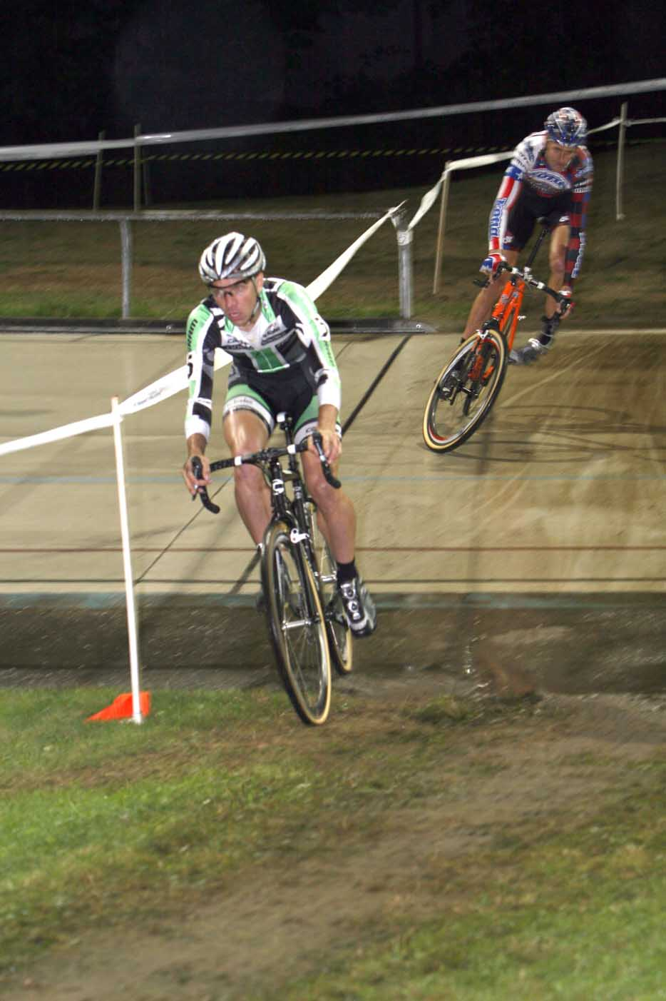 Trebon slides out entering the velodrome. by Janet Hill