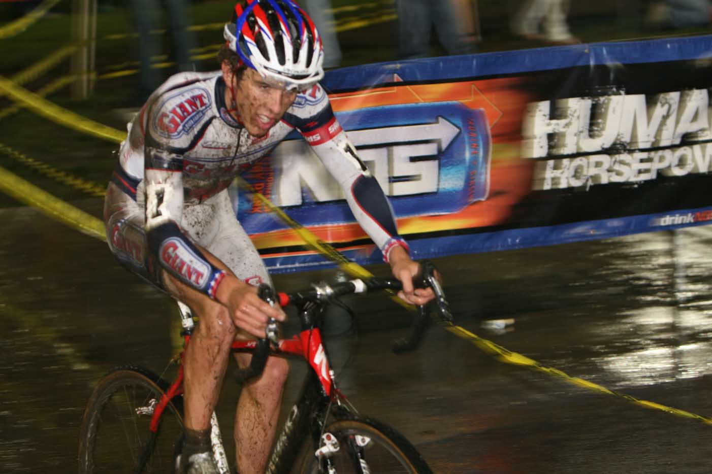 Nick Weighall\'s jersey reveals a fall. by Janet Hill