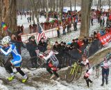 The women head up the hill at the Elite World Championships of Cyclocross. © Janet Hill
