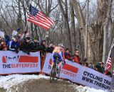 Flying the American flag at the Elite World Championships of Cyclocross. © Janet Hill