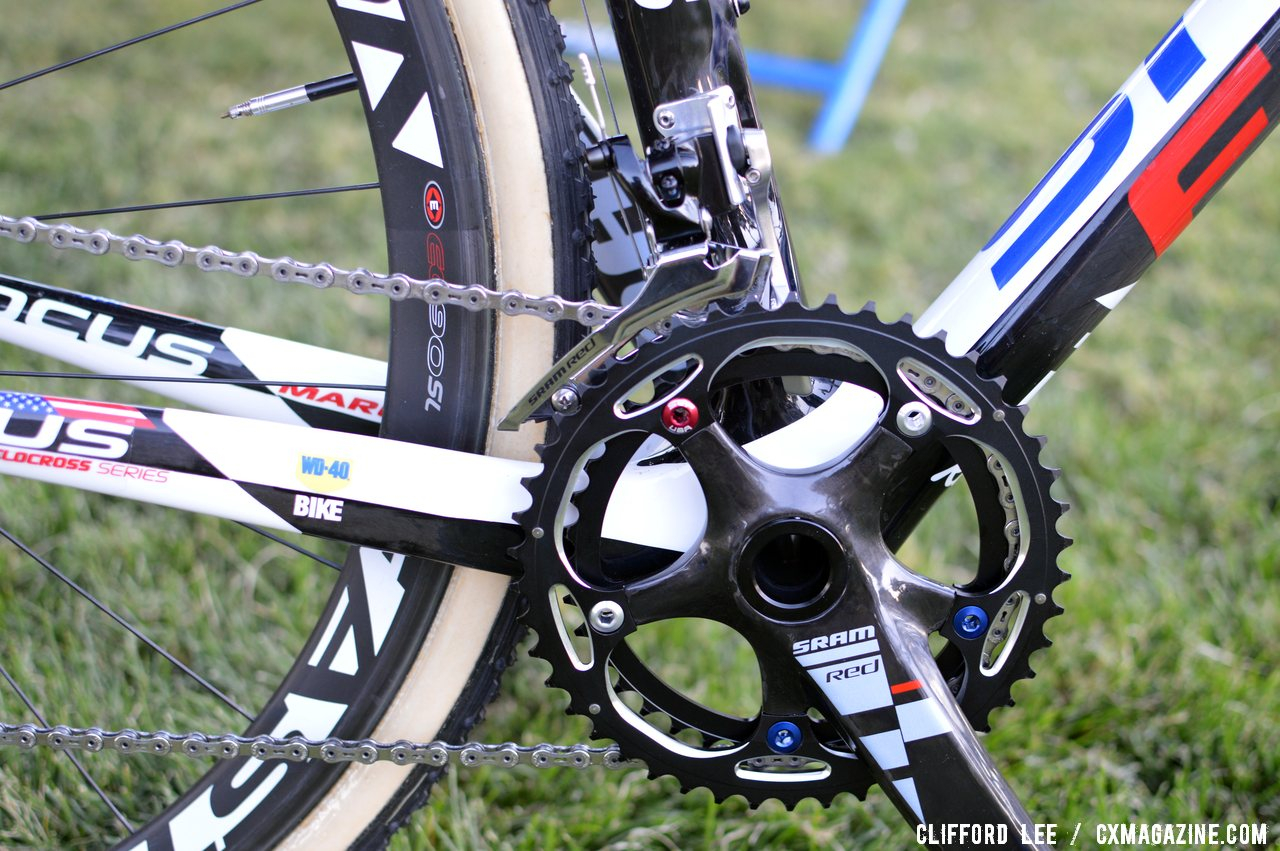 No Yaw yet: A 2011 SRAM Red compact crank still handles front shifting.  ©Clifford Lee/ Cyclocross Magazine