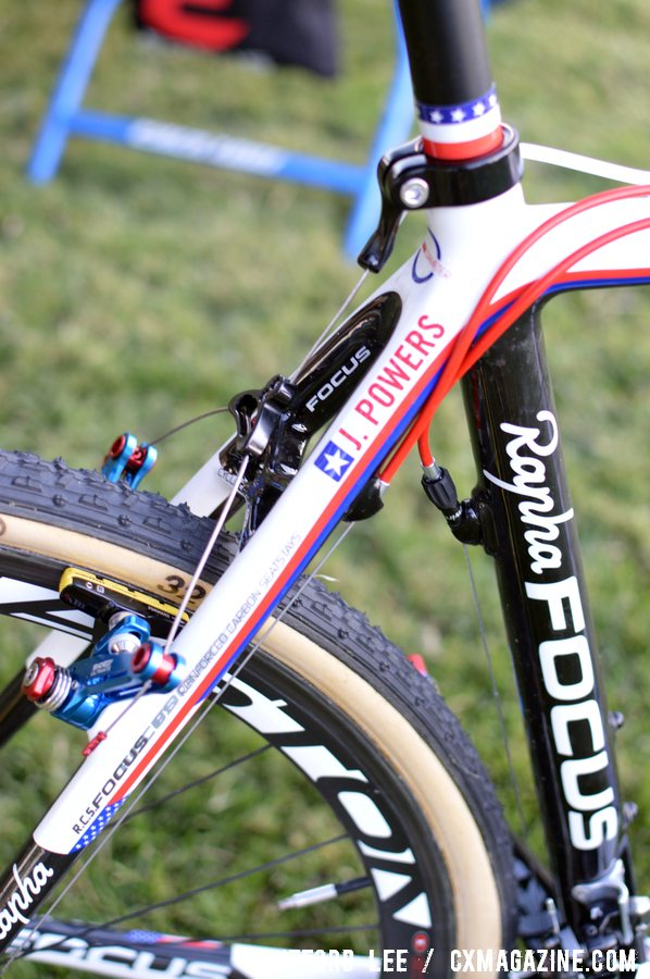 The Rapha-Focus team bikes were specially painted to reflect Powers\' National Champ status, while the other team bikes are a more sedate matte black. ©Cyclocross Magazine