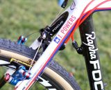 The Rapha-Focus team bikes were specially painted to reflect Powers' National Champ status, while the other team bikes are a more sedate matte black. ©Cyclocross Magazine