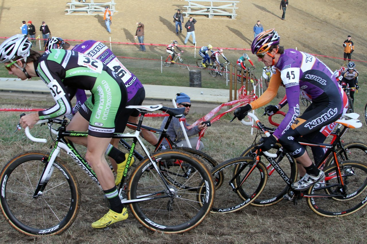 Driscoll, Trebon, Wicks and a Cal Giant rider battling for position coming around the corner off the first short steep climb on Lap 1. Jingle Cross 2010 Day 3. © Amy Dykema