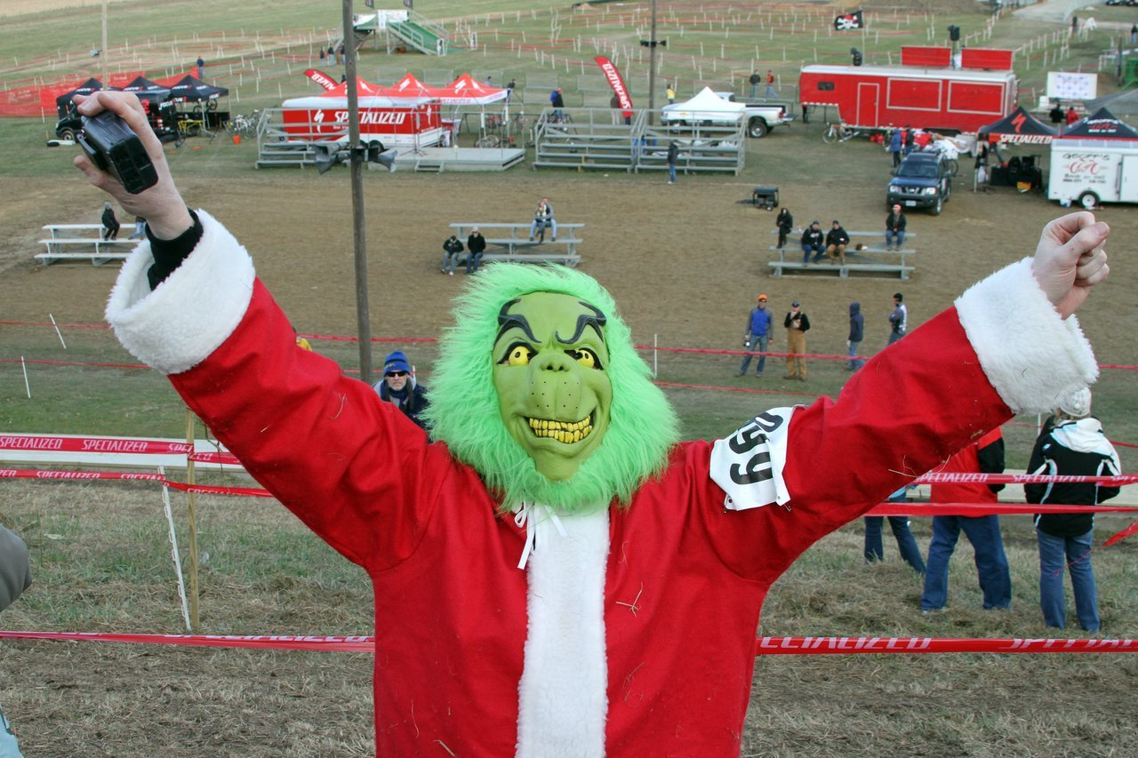 The Grinch, a Jingle Cross favorite, cheered on the riders on Sunday afternoon. Jingle Cross 2010 Day 3. © Amy Dykema