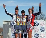 The women's podium: Miller, Miller and Duke. Jingle Cross 2010 Day 3. © Michael McColgan
