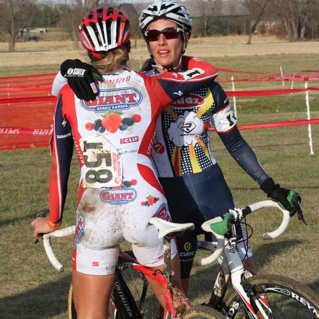 Meredith Miller and Nicole Duke congratulating each other on a great race © Amy Dykema