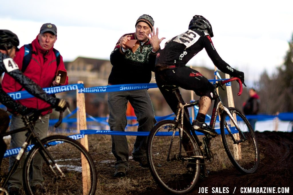 Running in 5th place in the single speed race.  © Joe Sales