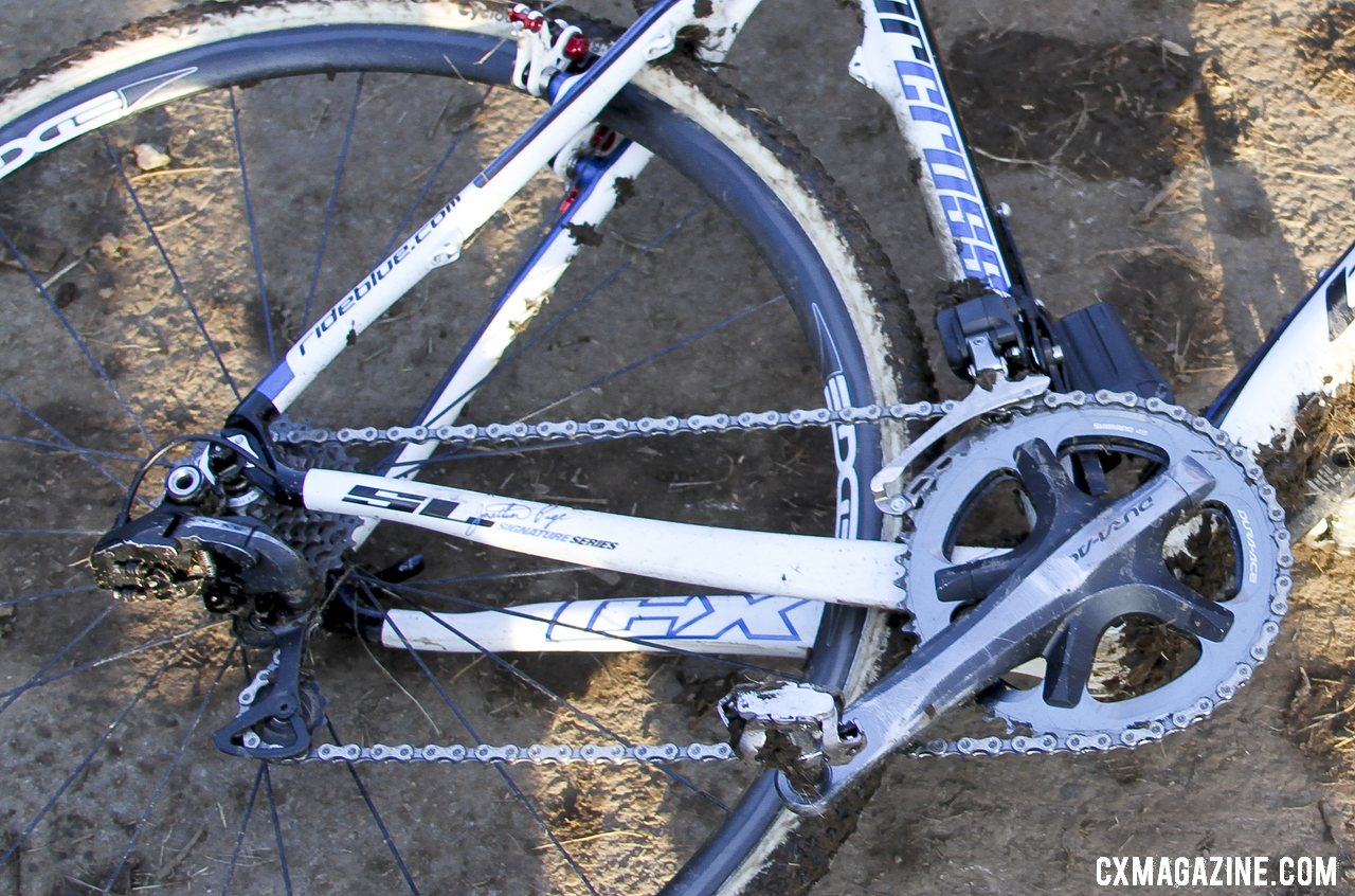 The M540 pedals and Shimano Dura-Ace 7900 crankset with 46/39t chainrings are two of the few holdovers from his 2012 build (pictured). © Cyclocross Magazine