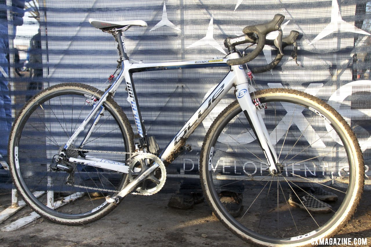 A lot of changes in a year: Jonathan Page used the same crank, pedals, frame and bar tape but everything else changed from his 2012 Blue Norcross SL ride (pictured). © Cyclocross Magazine
