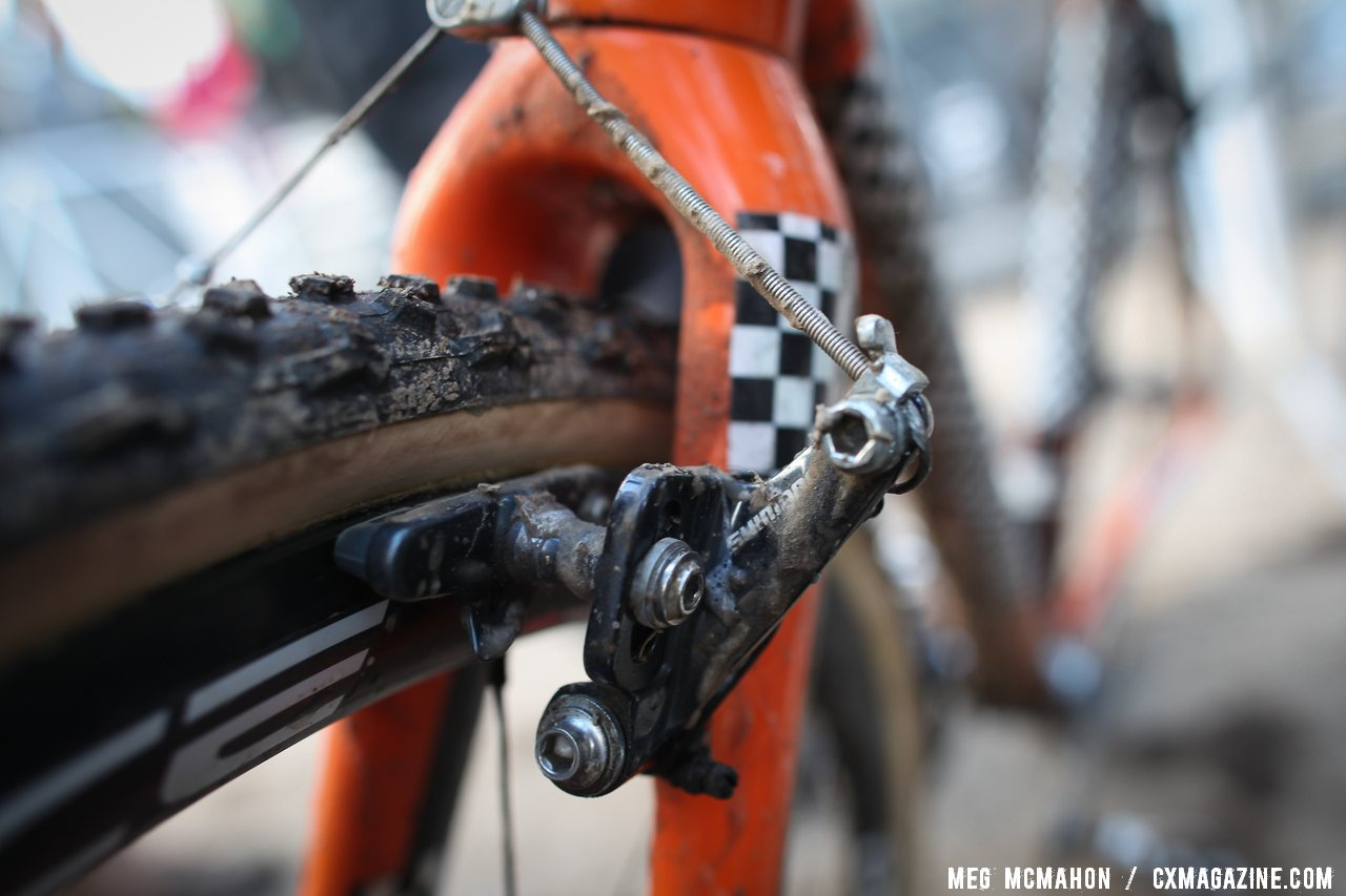 Page stopped his Dura-Ace C35 carbon tubulars with Shimano\'s CX-70 cantilever cyclocross brakes. © Meg McMahon