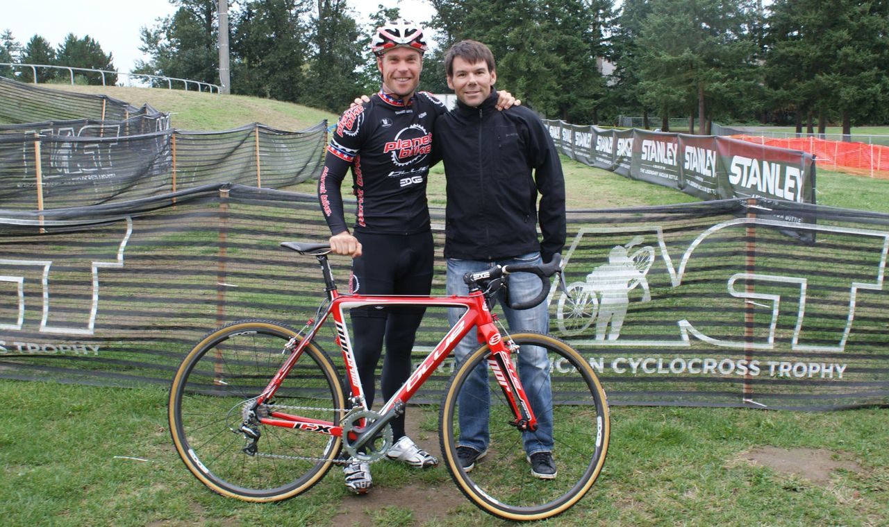 Jonathan and coach Todd Herriott before the clinic. © Cyclocross Magazine