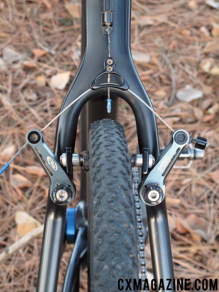 Fountain\'s RXC Pro wishbone and rear Avid Shorty Ultimate, which is also set up narrow for stopping power.