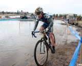 Morse in second trying to avoid the deep puddle. © Cyclocross Magazine