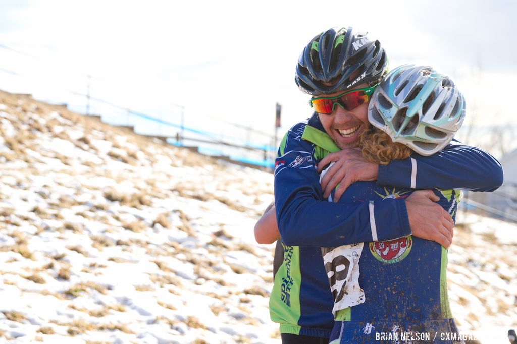 Sarah Felpel (Marrs Hill University) gets a congratulatory hug post-race.  ©Brian Nelson