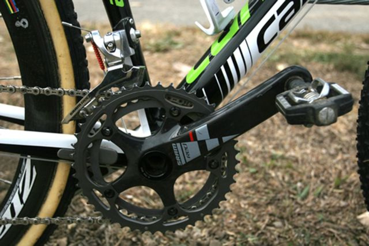 Sram Red Cranks, Force front derailer and Crank Brothers Candy pedals drive Antonneau\'s bike © 2010 Matt James