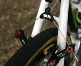 Cannondale-Cyclcrossworld team riders use Avid's Shorty Ultimate brakes fitted with aftermarket Jagwire brake cartridges that allow the brakes to work properly with the extra wide rim of the Zipp 303 © 2010 Matt James