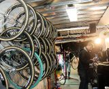 Kaitlin Antonneau had a slew of Dugast-wrapped Zipp wheelsets to choose from, and Stu Thorne to help her choose. © Cyclocross Magazine
