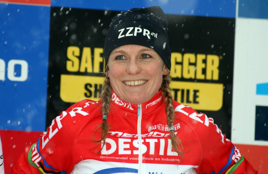 Van Den Brand is all smiles after her Kalmthout World Cup win. ? Bart Hazen