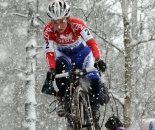 Van den Brand remounts in the snow at Kalmthout. ? Bart Hazen